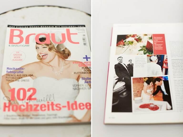 Eine veröffentlichte Hochzeitsreportage eines Hochzeitsfotograf im Brautmagazin