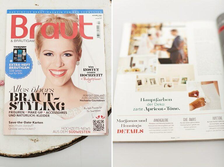 Das Braut & Bräutigam Magazin mit einer strahlenden Braut auf dem Cover