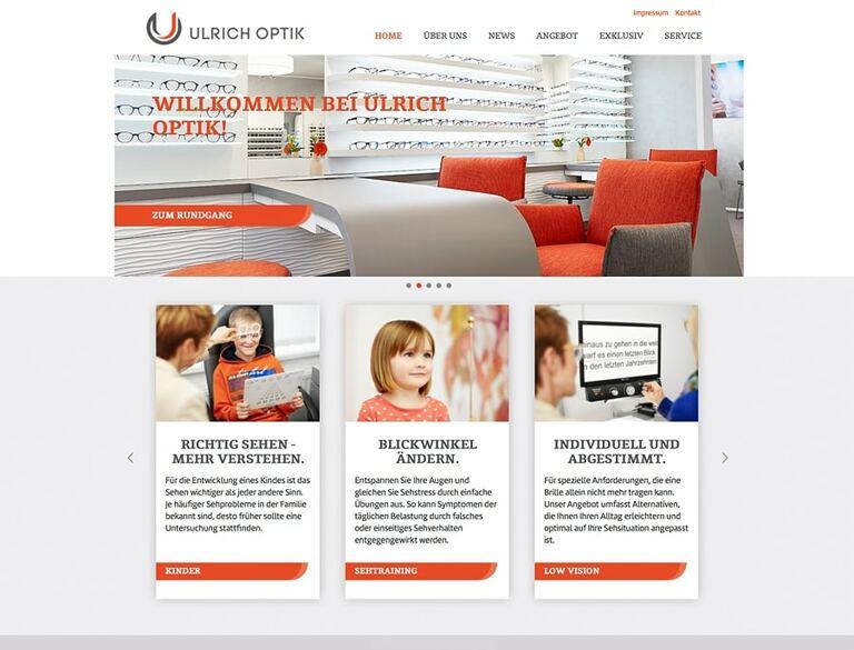 Ausschnitt einer Optikerseite mit verschiedenen Imagefotos