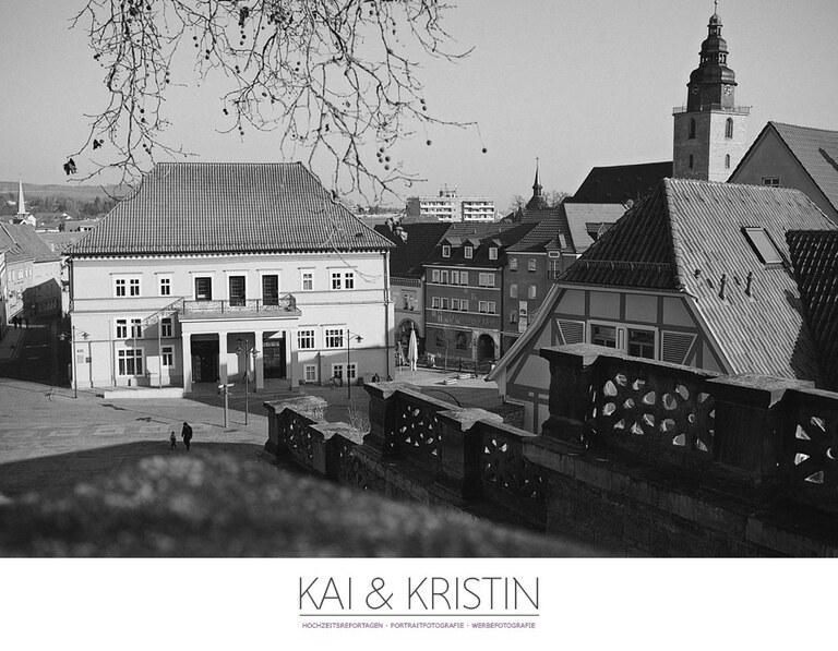 Das Rathaus in Sondershausen mit einer Fotoausstellung