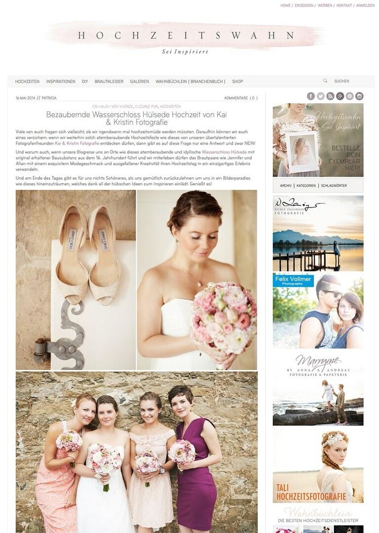 Ein Artikel über eine echte Hochzeit von Kai und Kristin Fotografie bei Hochzeitswahn veröffentlicht