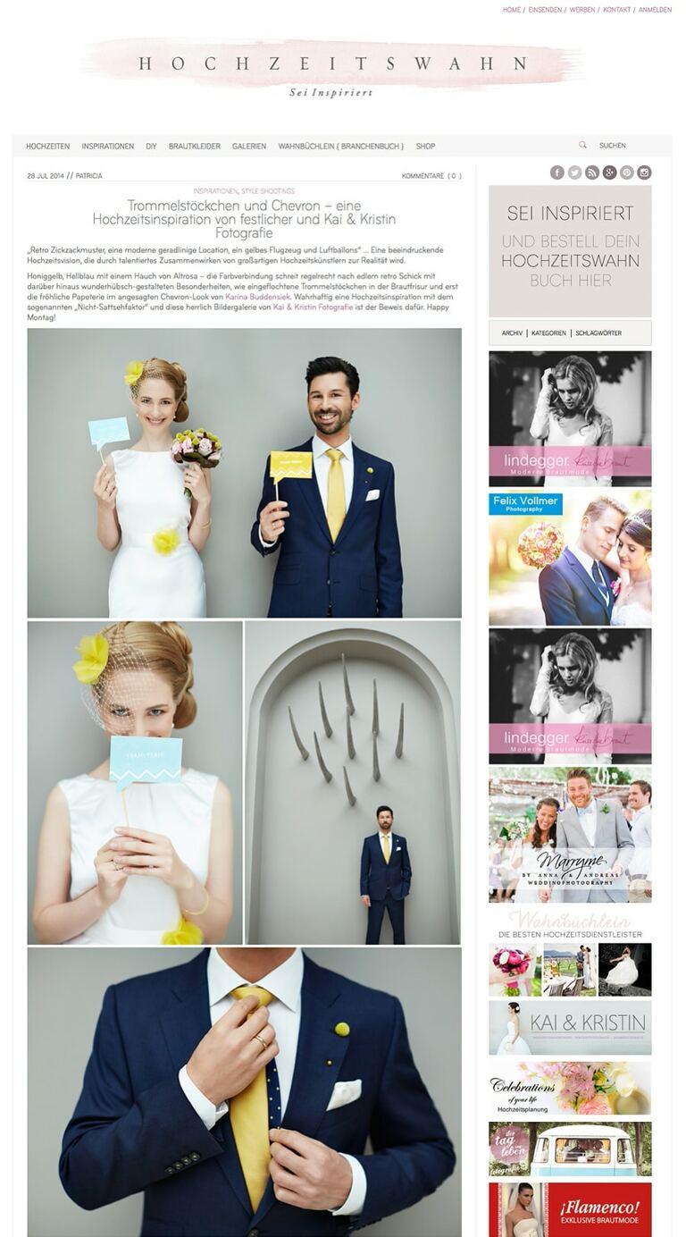 Ein Screenshot von einer Hochzeitsinspiration in einem Hochzeitsmagazin