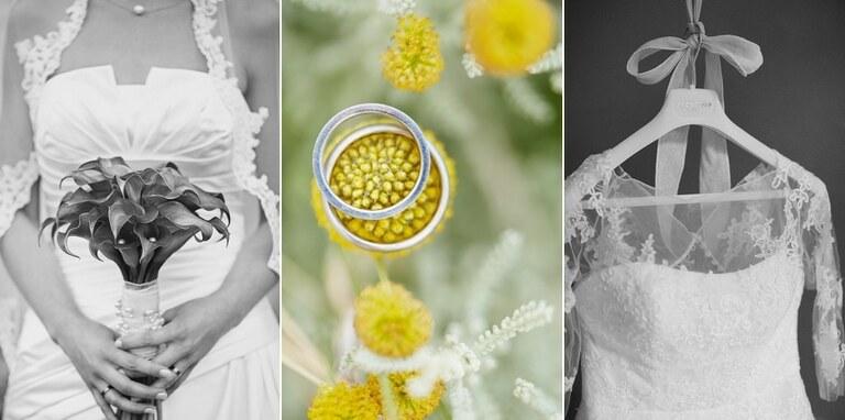 Detailfotos eines Brautstraußes, zwei Eheringen und einem Brautkleid auf einem Bügel hängend