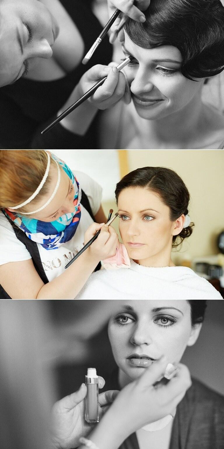 Drei Frauen werden für ihre Hochzeiten von einer Visagistin professionell geschminkt