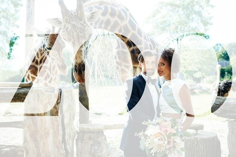 Ein Hochzeitsfoto mit dem Schriftzug Zoo als Hochzeitsinspiration im Zoo