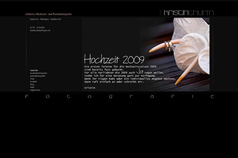 Ein Screenshot von einer Fotografen-Website