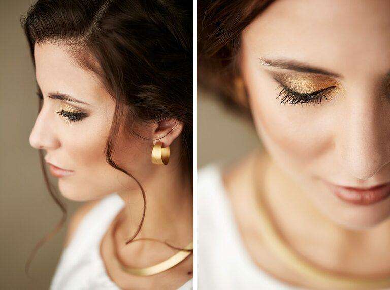 Eine dunkelhaarige Braut mit goldenen Ohrringen