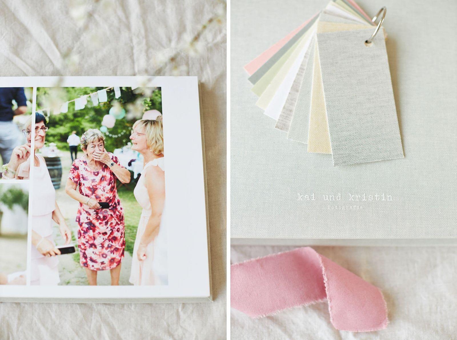 Eine Seite aus einem Hochzeitsbuch mit einem Hochzeitsgast und verschiedene Einbände