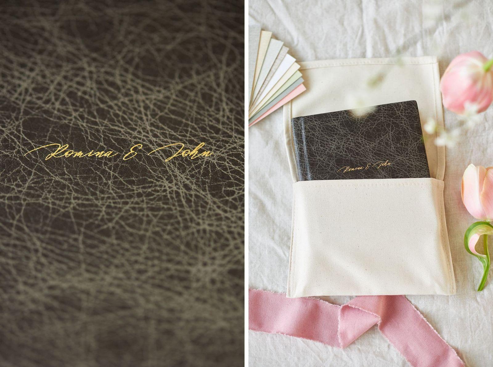 Ein Hochzeitsbuch mit echtem Leder und einer Prägung mit 22 Karat Gold