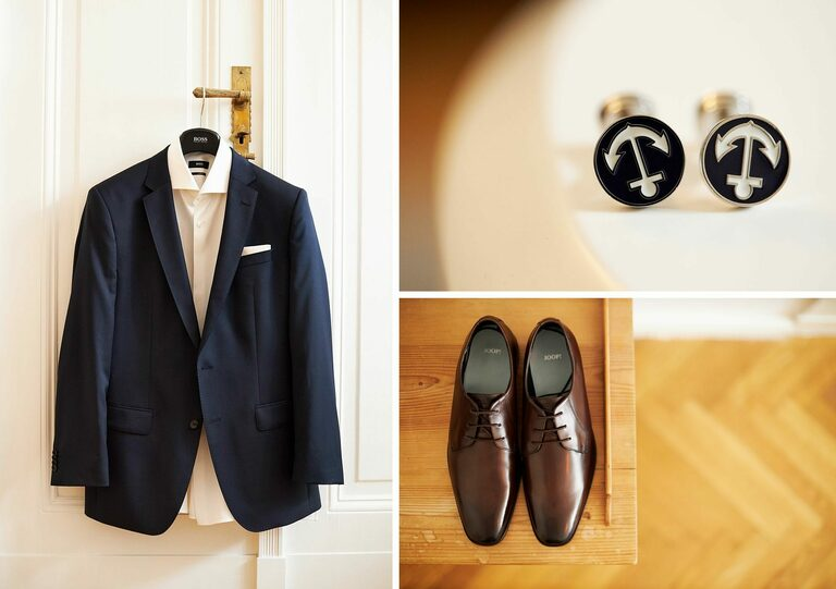 Jacket, Manschettenknöpfe und die Schuhe eines Bräutigams