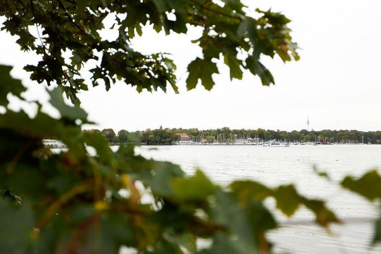 Der Wannsee mit Segelbooten und Blättern im Vordergrund