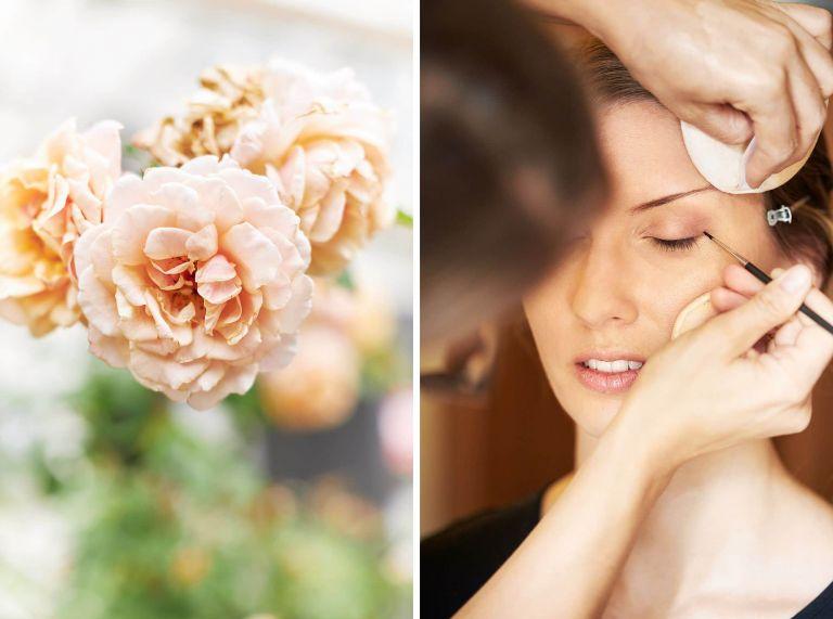 Eine Braut wird von einer Visagistin in Berlin geschminkt