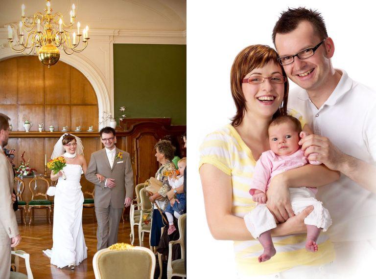 Ein Brautpaar zeit in das Standesamt ein und das gleiche Paar später mit ihrer kleinen Tochter