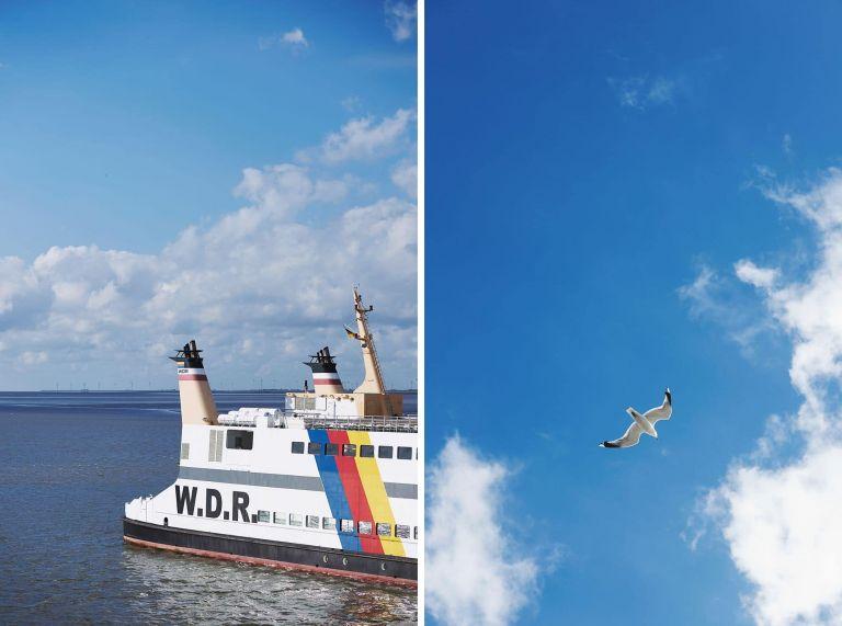 Eine Fähre auf der Nordsee und eine Möwe am Himmel