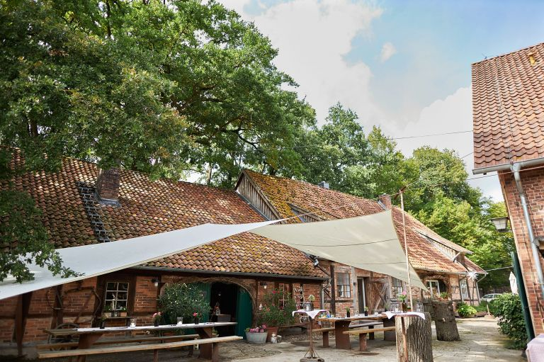 Der Hof Wietfeldt in Celle mit seinen alten Scheunen