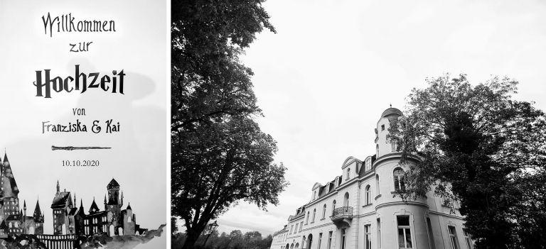 Eine Schwarz-Weiß-Aufnahme des Schloss Teutschenthal von der Seite